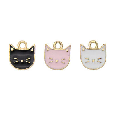 10pcs Lovely Cat Shaped Pendants Charm DIY Jewelry Necklace Making Accessories