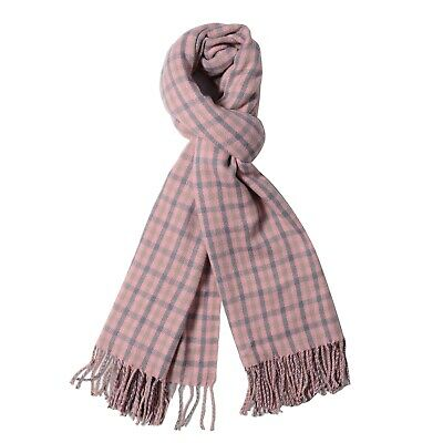 "Pink and Gray Ultra Warm Plaid Pattern Scarf with Tassels 38x28.35"" 100% Acrylic"