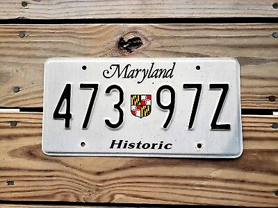 Maryland License Plate Tag Number 473 97Z Classic Md Historic Shield