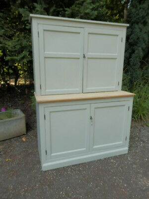 Pine dresser, antique, French Grey. Two separate pieces . Shabby chic painted