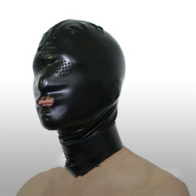 100% Natural latex head mask rubber hood with small eyes holes Mouth Open