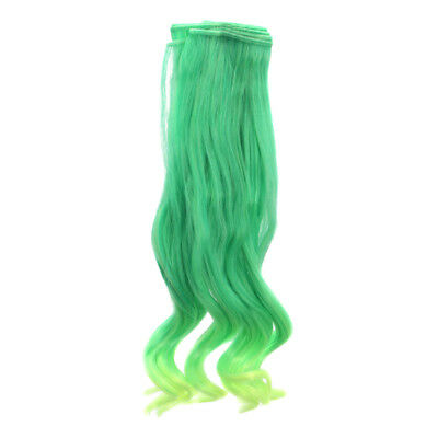 25x100cm High-temperature Wire Curls Wig Hair For Barbie 1/3 BJD Doll Green
