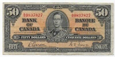 Canada 50 Dollars 1937 Gordon Towers B/h Free Shipping
