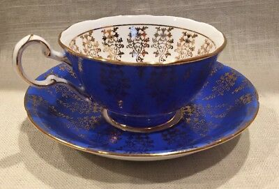 Rare Royal Grafton Blue Gilded Tea Cup & Saucer, England, Beautiful
