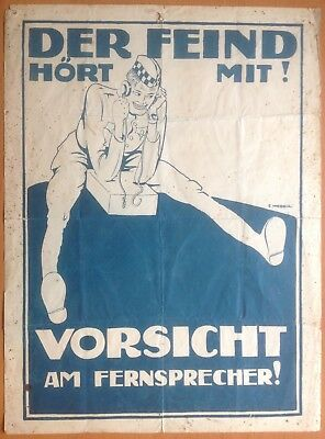 Original Wwi German Security Poster: The Enemy Is Listening! Der Feind Hört Mit!