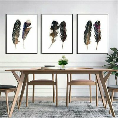 Canvas Printed Feather Art Print Watercolor Painting Feather Wall Art Decor N2