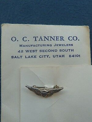 home front sterling miniature pilot wings in original package, O.C.Tanner