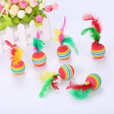 Colorful Cat Toys Soft Eva Feathered Ball Toys For Cats Pet Toy M2