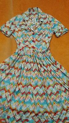 Womens Vintage 60s70s Bright Blue Red Yellow Geometric Shirt Dress Sundress XS-S