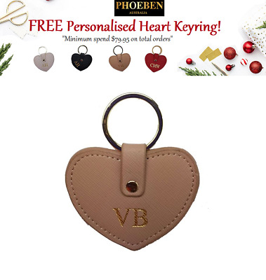 Personalised Monogram Womens Ladies Accessories Leather Taupe HEART KEYRING