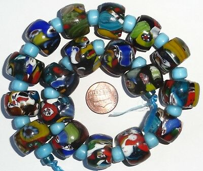 18 Vintage West African Mosaic Glass Trade Beads