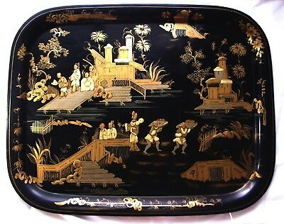 Antique Victorian Chinoiserie Lacquered and Gilt Tole Tray 1860