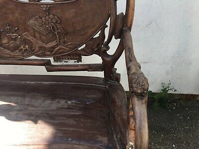 Hand carved rosewood Chinese motif bench