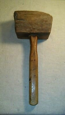 Vintage Wooden Mallet Antique Old Hammer Farm Tool Primitive Barn