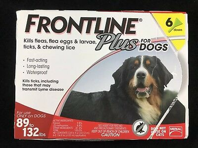Frontline Plus Flea and Tick Control for Dogs 89-132 lbs. 6 Month Supply 6 Doses