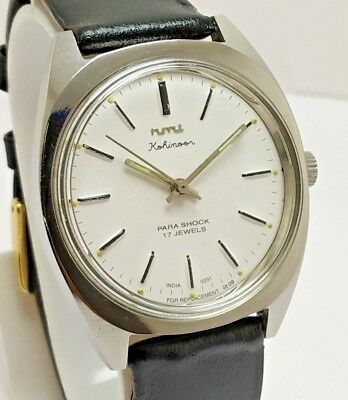 Rare Vintage Indian Made Hmt  White Dial Hand-Winding 17J Wrist Watch Men's