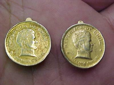 Chile 20 Centavos Gold Toned 1942 Coins Made Into Earrings Nice