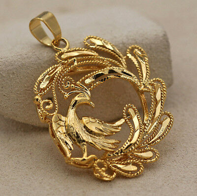 18K Gold Filled - Hollow Peacock Bird Swirl Hemp Jewelry Lady Pendant Party Gift