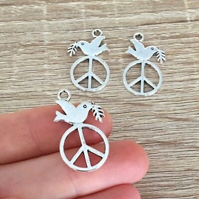 10/20/30 Pcs Antique Silver Plated Dove Charms Bird Pendant Peace Sign Jewelry