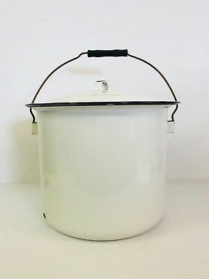 """Vintage White & Black Enamelware Pot 8"""" Tall 11"""" Across With Lid & Handle"""