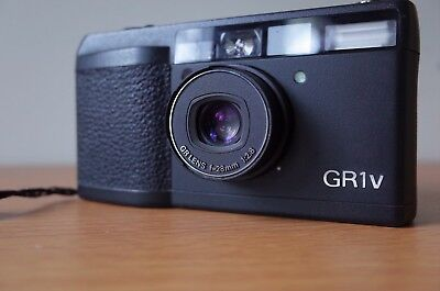 RICOH GR1v 35mm Black film Camera , Ricoh GR Lens 28mm f/2.8 w/ case and strap