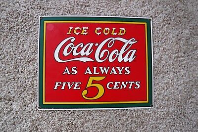 Porcelain Coca Cola Sign13 x 10 3/8 Red Yellow Green White