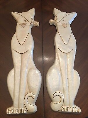 Mid Century Modern Large Cat Wall Plaques Vintage MCM Siamese Hanging Pottery