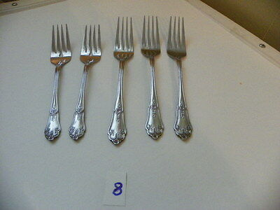 5 Rogers  / Stanley Roberts  Alexis  Forks, 2 Salad 3 Dinner Stainless  Flatware