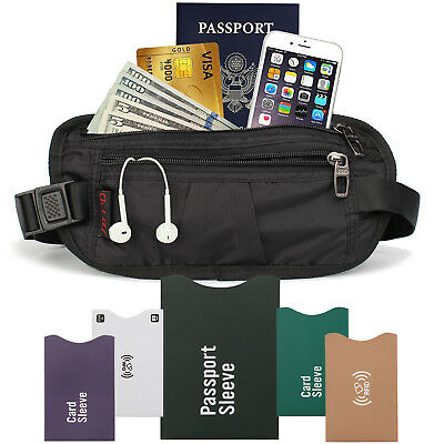 RFID Sleeves + Hidden Zippered Money Belt For Travel With Blocking Sleeves Card