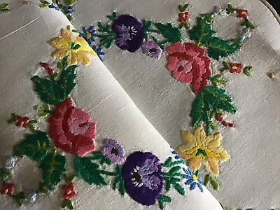 Beautiful Vintage Linen Hand Embroidered Tray Cloth ~ Anemones/roses