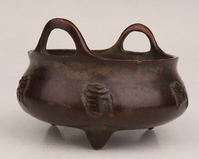 Old Copper Incense Burner Handmade Casting Daming Xuan De Style Collection