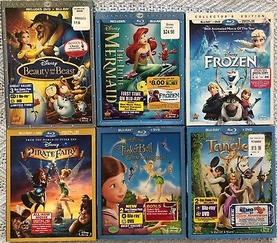 6 Disney Blu-rays Frozen Little Mermaid Beauty and the beast Tangled and more