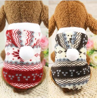 Chirstmas Winter Warm Pet Small Dog Cat Clothes  Puppy Pullover Sweatshirt Coat