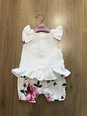 Ted Baker Baby White Floral Romper 6/9months Excellent Condition*can Combine P&P