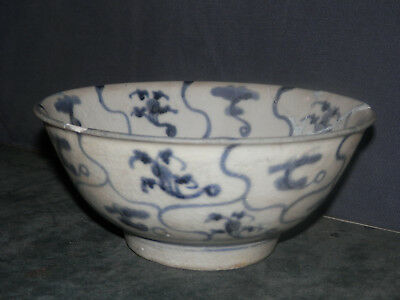 "Antique Chinese Bowl - Damaged & Repaired - Blue Painted Bowl 3"" x 6.5"" Vintage"