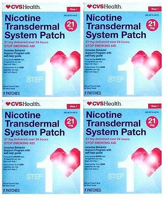 CVS Nicotine Transdermal Step 1 Patch 21mg (28 Patches) Exp 4/19  - Sealed NIB