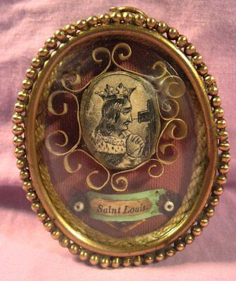 Antique Ornate Theca Case With A Relic Of St. Louis - King Of France