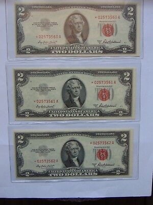 1953 A $2 United States Notes 3 Consecutive # Rare Star Red Seal Crisp UNC Nice!