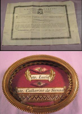 Antique Theca Case With The Relics Of St.lucy & St.catherine - With Document
