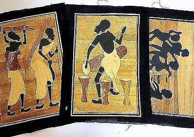 African Egyptian Papyrus Paper Handmade Colleague Art Painting Set/ 3 New 9 x 13