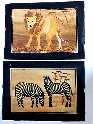 African Egyptian Papyrus Paper Handmade Colleague Art Painting Set/ 2 New 9 x 13