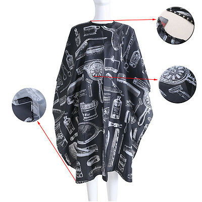 Black Hairdressing Gown Cape Hair-Cut Salon Barber Nylon Cloth Wrap Protect TO