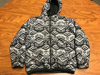 Boys The North Face Zip Up Hooded Reversible Black Aztec Coat Jacket Youth Small