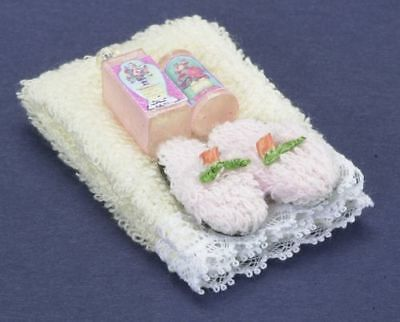 Dollhouse Bathroom Spa Slippers Towel Pampering Set Doll 1:12 House Miniatures