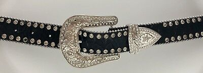 Blazin Roxx Small Western Rhinestone Buckle Belt Bling WOW Black Faux Leather