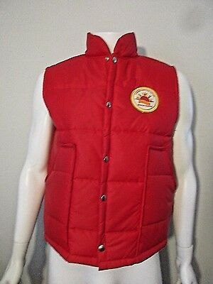 Vintage Courier Express Newspaper Service Award Patch Red Puffy Nylon Vest L