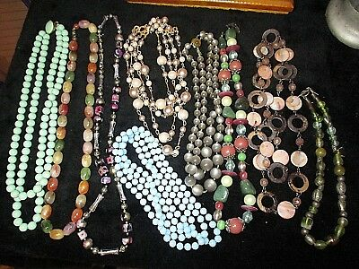 VINTAGE FINE COSTUME Jewelry Estate Find lot of 9 necklaces  1.8 LBS