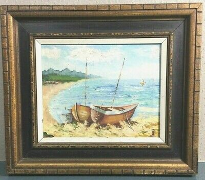Vintage seascape oil painting On Canvas-Two Boats &The Beach/ Free Shipping #635