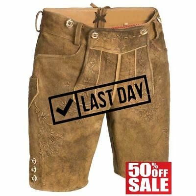 ANI-SKIN Bavarian shorts with matching suspenders for Mens 100% Cow LEATHER