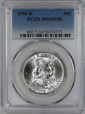 1958 D Franklin Half Dollar 50C Pcgs Certified Ms64Fbl Full Bell Lines Unc (171)